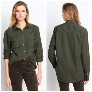 Vince Utility Cotton & Silk Button Down Shirt - M
